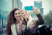 Stylish young women selfie — Stock Photo
