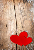 Valentines Hearts over Wood — Stock Photo