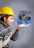 Engineer with a helmet on his head — Stock Photo