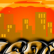 Stock Photo: Cityscape graffito at sunset