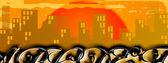 Graffito di paesaggio urbano al tramonto — Foto Stock