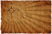 Větrná růžice na starodávná mapa — Stock fotografie