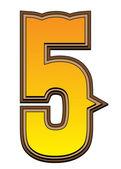 Západní abecedy číslo - 5 — Stock fotografie