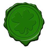 Shamrock green wax seal — Stock Photo