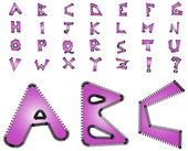 Electric zig zag alphabet - violet — Stock Photo