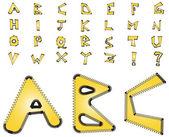 Electric zig zag alphabet - yellow — Stock Photo