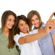 Teenager girls with smartphone — Stock Photo