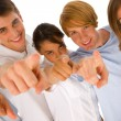 Group of teenagers pointing — Stock Photo