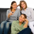 Teenagers watching tv — Stock Photo