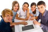 Teenagers studying together — Stock Photo