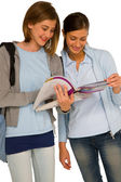 Teenage girls with books — Stock Photo