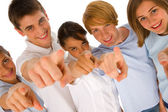 Group of teenagers pointing — Stok fotoğraf