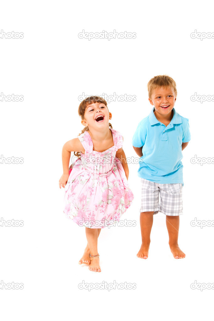 Boy and girl smiling  Stock Photo #14091052