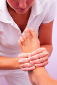 Physiotherapy foot reflexology — Stock Photo