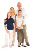 Young grandmother and grandfather with nephew and niece standing — Stock Photo