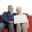 Elderly couple on the sofa using a laptop — Stock Photo #4830925