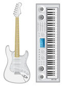 Isolated image of guitar and synthesizer — Stock Vector