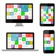 Isolated gadgets with ui and web elements including flat design — Stock Vector