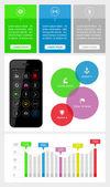 Ui, infographics en web elementen met inbegrip van platte ontwerp — Stockvector