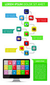 Elementi dell'interfaccia utente, infografica e web tra cui design piatto — Vettoriale Stock