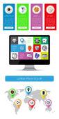 éléments ui, infographie et web y compris design plat — Vecteur