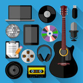 Music icons bundle. Flat design — Stock Vector