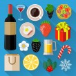 Food and drinks icons set. Flat design — Stock Vector #44607025