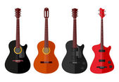 Set of isolated guitars. Flat design — Stok Vektör