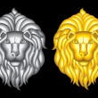 Silver and gold lion heads — Stock Vector #46169139