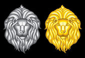 Silver and gold lion heads — Stock Vector