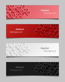 Set of abstract valentine banners — Stock Vector