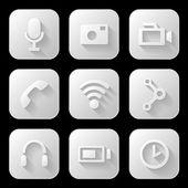 Media icons set — Stock Vector