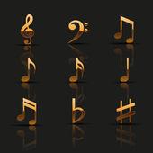 Golden musical notes — Stock Vector
