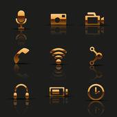 Golden web icons set — Stock Vector