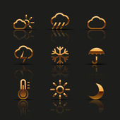 Golden weather icons set — Stock Vector