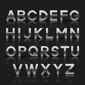 Dekoratif gümüş alfabesi — Stok Vektör
