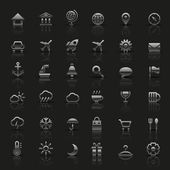 Set of universal silver icons. Vector illustration. — Stock Vector