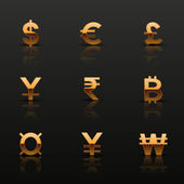 Golden currency icons set — Stock Vector