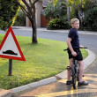 Young Boy Stopped Bicycle at Speed Bump — Stock Photo