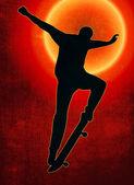 Grunge Sunset Back Skateboarding Nosegrind — Stock Photo