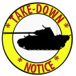 Stock Photo: Take Down Notice with Tank