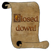 3D Closed Down Notice on Scroll — Stock Photo