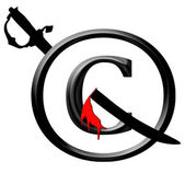 3D Black and Red Copyright Infringement Notice Icon — Stock Photo