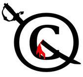Black and Red Copyright Infringement Notice Icon — Stock Photo