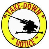 Take Down Notice with Anti Aircraft Gun — Stock Photo