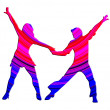 3D Color Dancing Couple 70s — Stock Photo