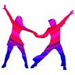 3D Color Dancing Couple 70s — Stockfoto