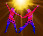 3D Color And Spotlight Dancing Couple 70s — Stock Photo