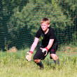 Teenage Boy Soccer Goalie Practicing — Stock Photo #18323589