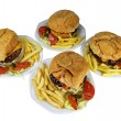 Four Cheese Burgers Combo — Stock Photo